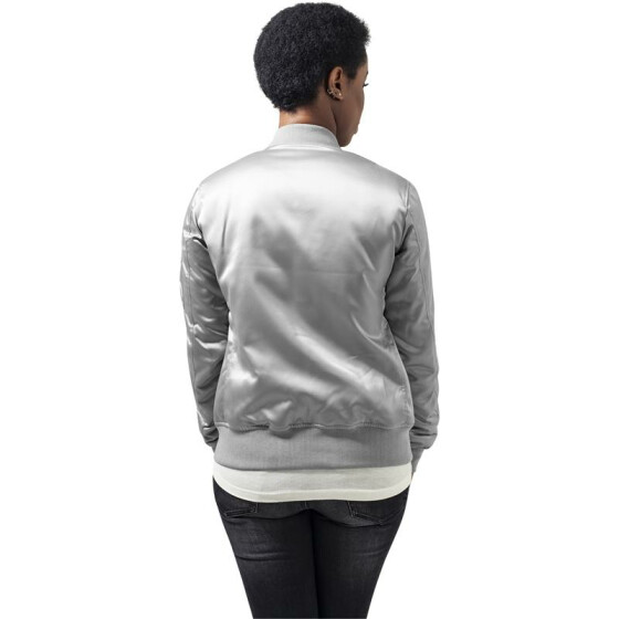 Urban Classics Ladies Satin Bomber Jacket, silver L