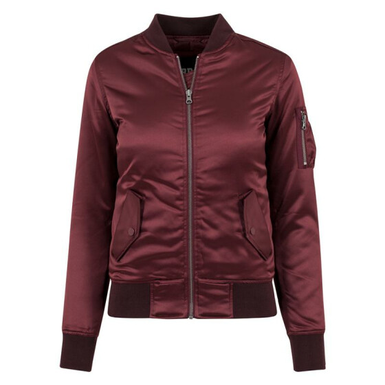 Urban Classics Ladies Satin Bomber Jacket, burgundy M