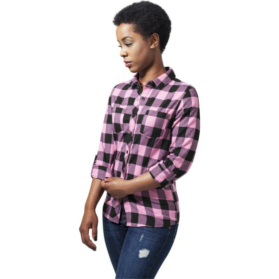Urban Classics Ladies Turnup Checked Flanell Shirt, blk/rose L