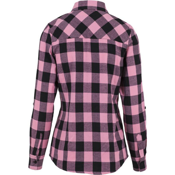 Urban Classics Ladies Turnup Checked Flanell Shirt, blk/rose XL