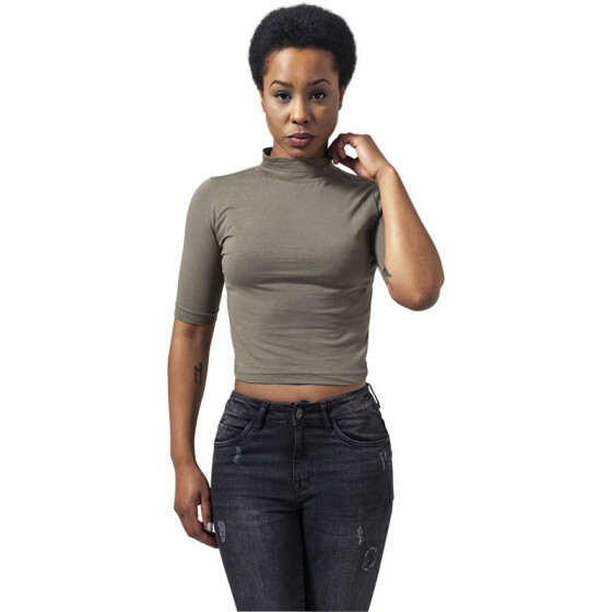 Urban Classics Ladies Cropped Turtleneck Tee, olive M