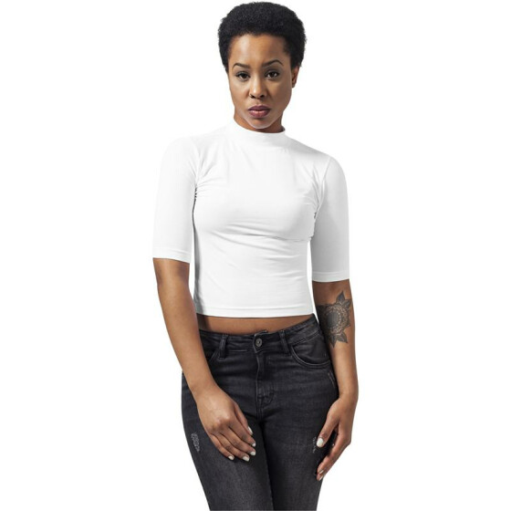 Urban Classics Ladies Cropped Turtleneck Tee, white L