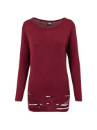 Urban Classics Ladies Cutted Viscose L/S Tee, burgundy L