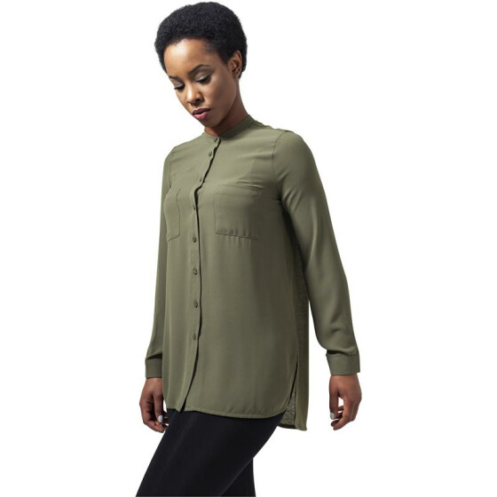 Urban Classics Ladies HiLo Chiffon Blouse, lightolive XL