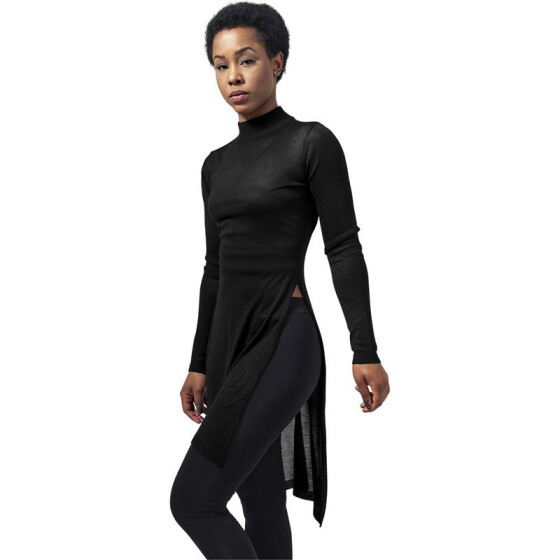 Urban Classics Ladies Fine Knit Turtleneck Long Shirt, black S