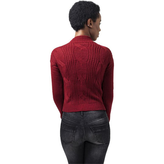 Urban Classics Ladies Short Turtleneck Sweater, burgundy L