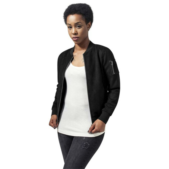 Urban Classics Ladies Imitation Suede Bomber Jacket, black XS