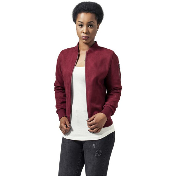 Urban Classics Ladies Imitation Suede Bomber Jacket, burgundy XS