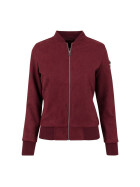 Urban Classics Ladies Imitation Suede Bomber Jacket, burgundy XL