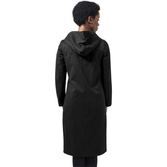 Urban Classics Ladies Peached Long Asymmetric Coat, black L