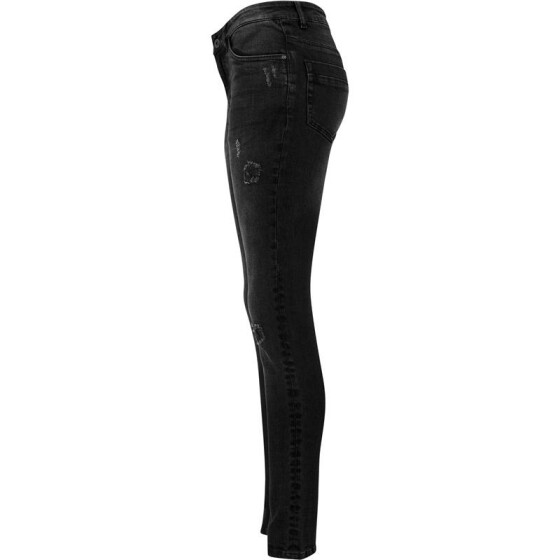 Urban Classics Ladies Ripped Denim Pants, black washed 27