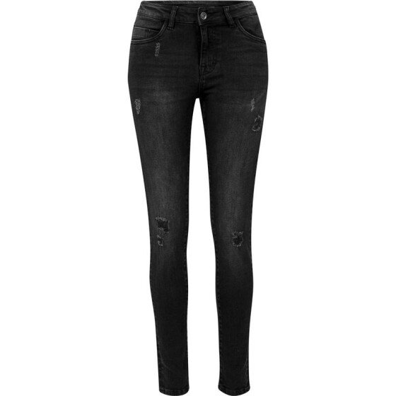 Urban Classics Ladies Ripped Denim Pants, black washed 28