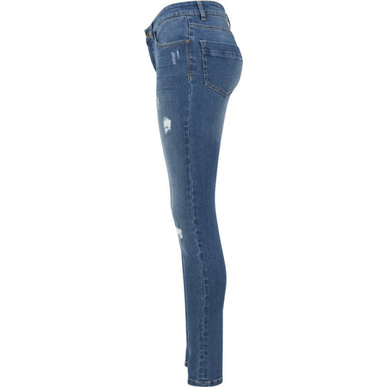 Urban Classics Ladies Ripped Denim Pants, blue washed 29