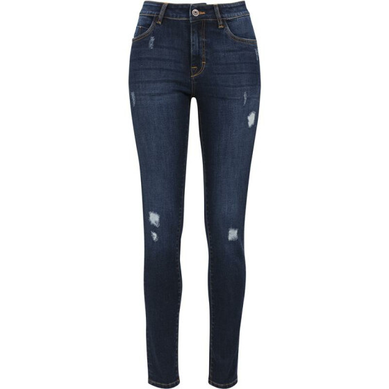 Urban Classics Ladies Ripped Denim Pants, darkblue 26