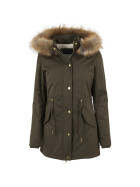Urban Classics Ladies Sherpa Lined Peached Parka, olive XS