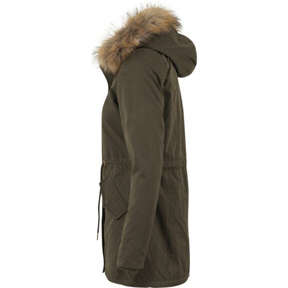 Urban Classics Ladies Sherpa Lined Peached Parka, olive M