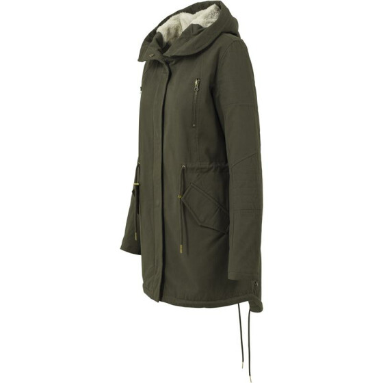 Urban Classics Ladies Sherpa Lined Cotton Parka, olive XS