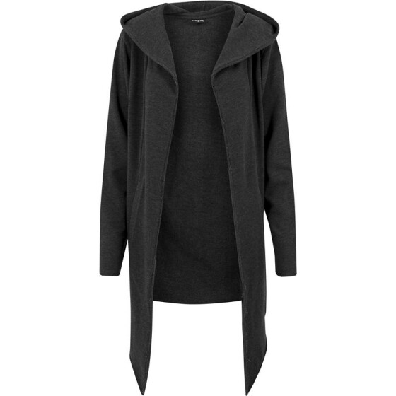Urban Classics Long Hooded Open Edge Cardigan, charcoal M