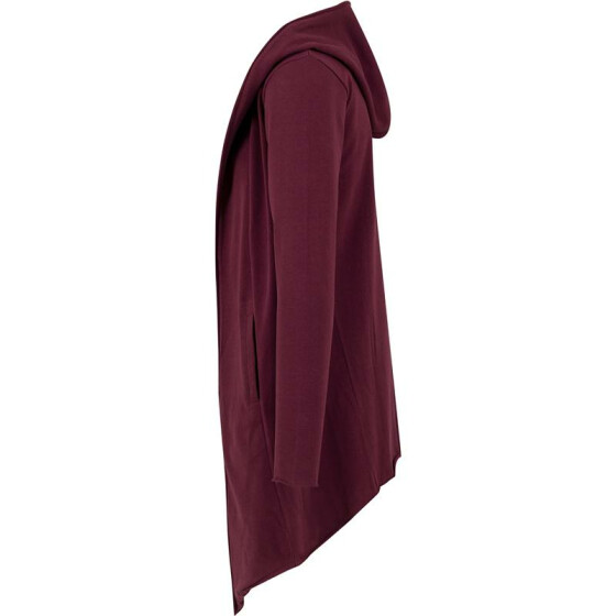 Urban Classics Long Hooded Open Edge Cardigan, burgundy XL