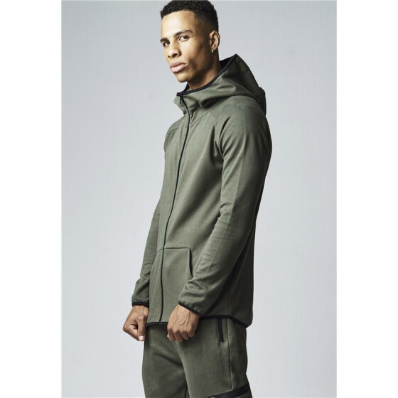 Urban Classics Athletic High Neck Interlock Zip Hoody, olive S