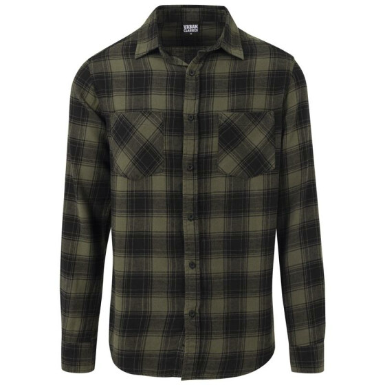 Urban Classics Checked Flanell Shirt 3, blk/olive S