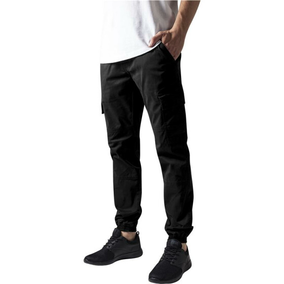 Urban Classics Washed Cargo Twill Jogging Pants, black 36