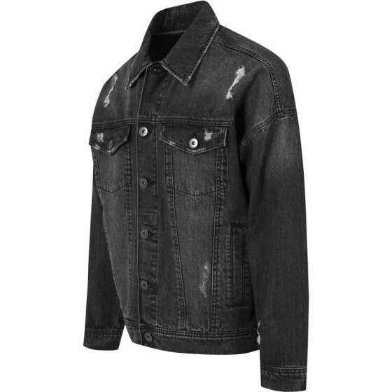 Urban Classics Ripped Denim Jacket, black L