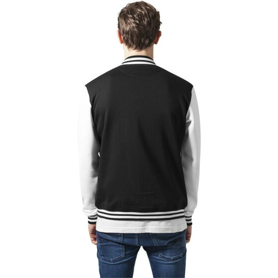 Urban Classics 2-tone College Sweatjacket, blk/wht 3XL