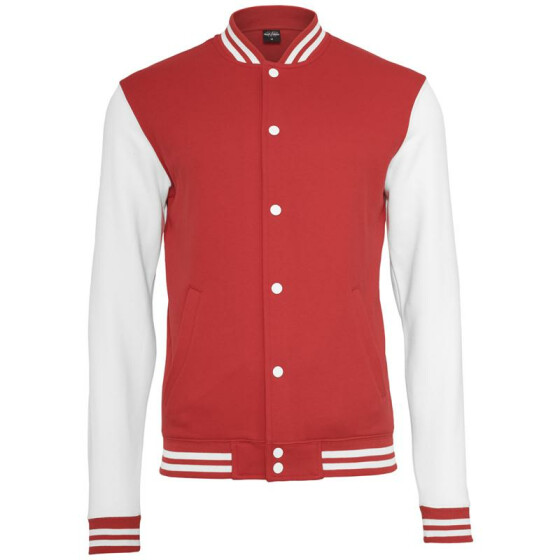 Urban Classics 2-tone College Sweatjacket, red/wht XXL