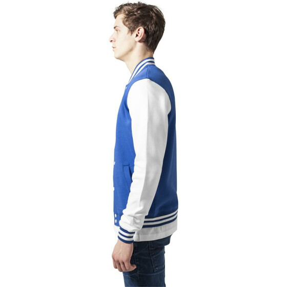 Urban Classics 2-tone College Sweatjacket, roy/wht 3XL