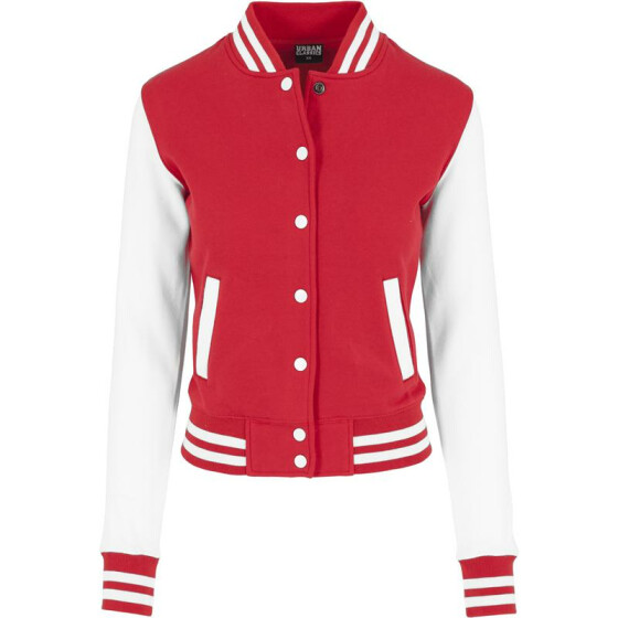 Urban Classics Ladies 2-tone College Sweatjacket, red/wht M
