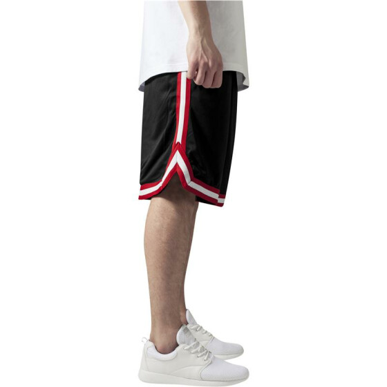 Urban Classics Stripes Mesh Shorts, blkredwht M