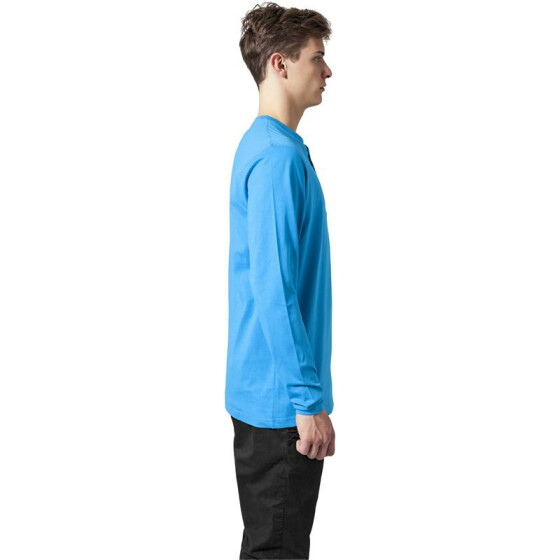 Urban Classics Basic Henley L/S Tee, turquoise M