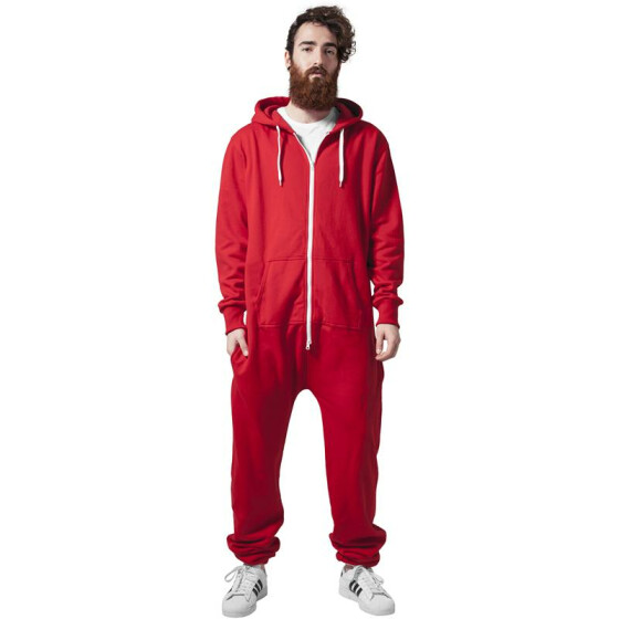 Urban Classics Sweat Jumpsuit, red/wht XS/S