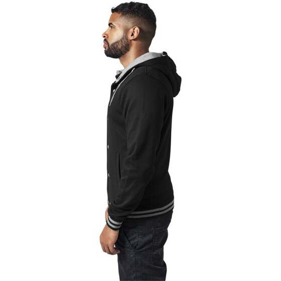 Urban Classics Hooded College Sweatjacket, blk/gry L