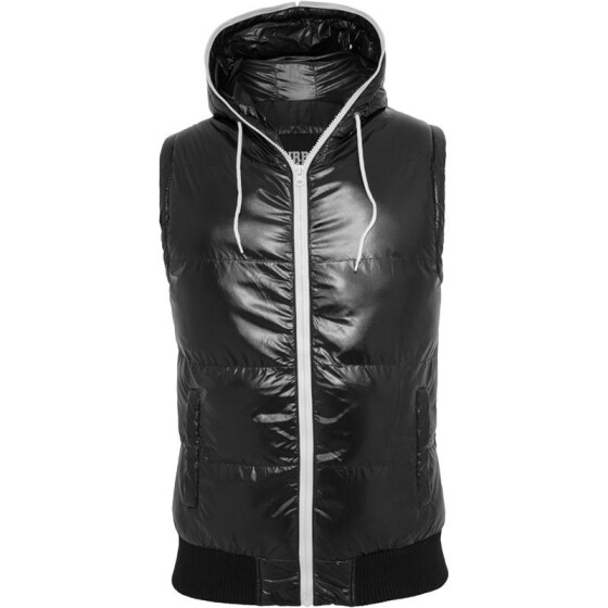 Urban Classics Hooded Bubble Vest, blk/wht S