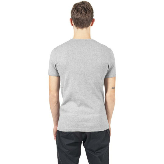 Urban Classics Slim 1by1 V-Neck Tee, grey M