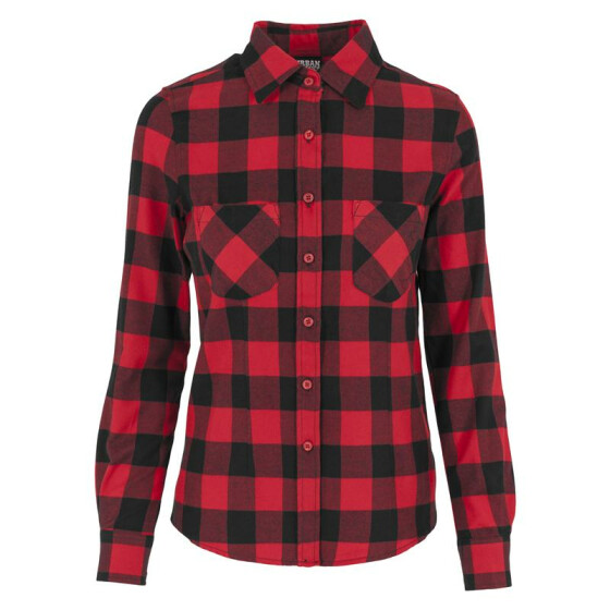 Urban Classics Ladies Checked Flanell Shirt, blk/red XL