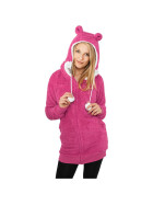Urban Classics Ladies Long Teddy Zip Hoody, fuc/wht M