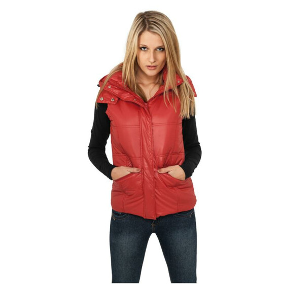 Urban Classics Ladies Shiny Hooded Vest, red XS
