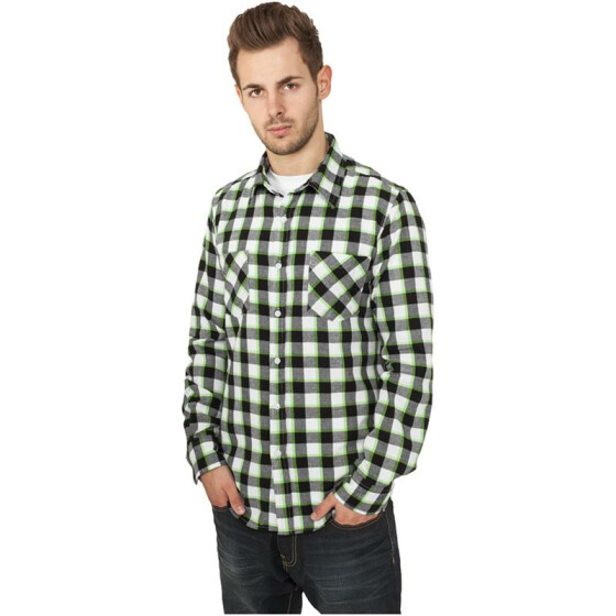 Urban Classics Tricolor Checked Light Flanell Shirt, blkwhtlgr L