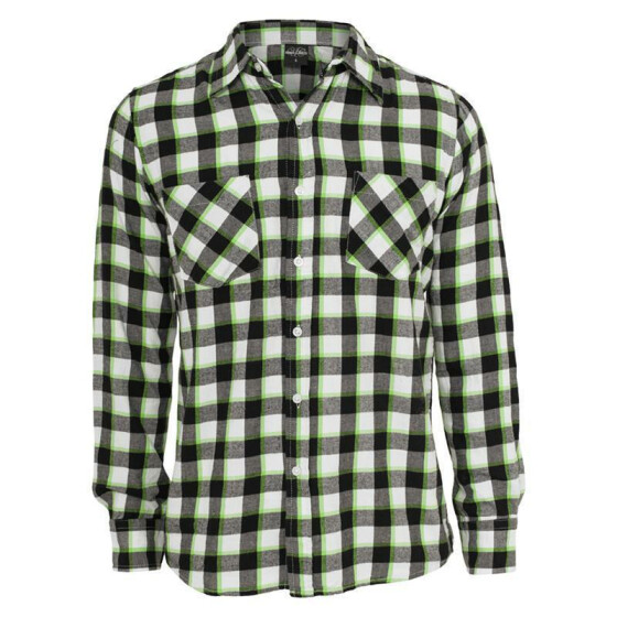 Urban Classics Tricolor Checked Light Flanell Shirt, blkwhtlgr XXL
