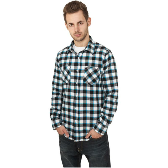 Urban Classics Tricolor Checked Light Flanell Shirt, blkwhttur M