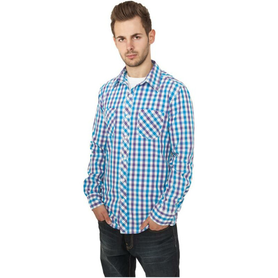 Urban Classics Tricolor Big Checked Shirt, purwhttur M