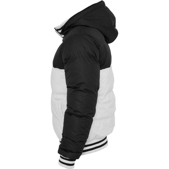 Urban Classics Shiny 2-tone Hooded College Bubble Jacket, wht/blk L