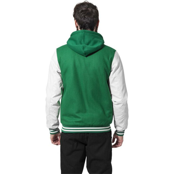 Urban Classics Hooded Oldschool College Jacket, grn/wht XL