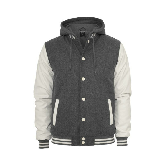 Urban Classics Hooded Oldschool College Jacket, gry/wht L