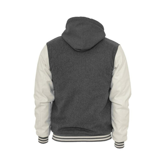 Urban Classics Hooded Oldschool College Jacket, gry/wht XXL