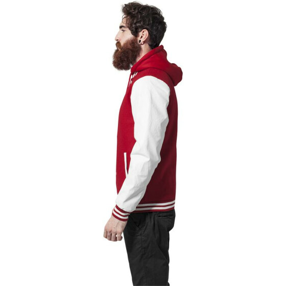 Urban Classics Hooded Oldschool College Jacket, red/wht S