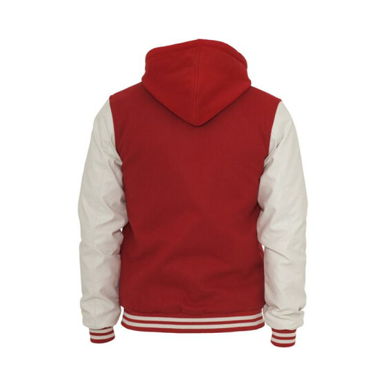 Urban Classics Hooded Oldschool College Jacket, red/wht M